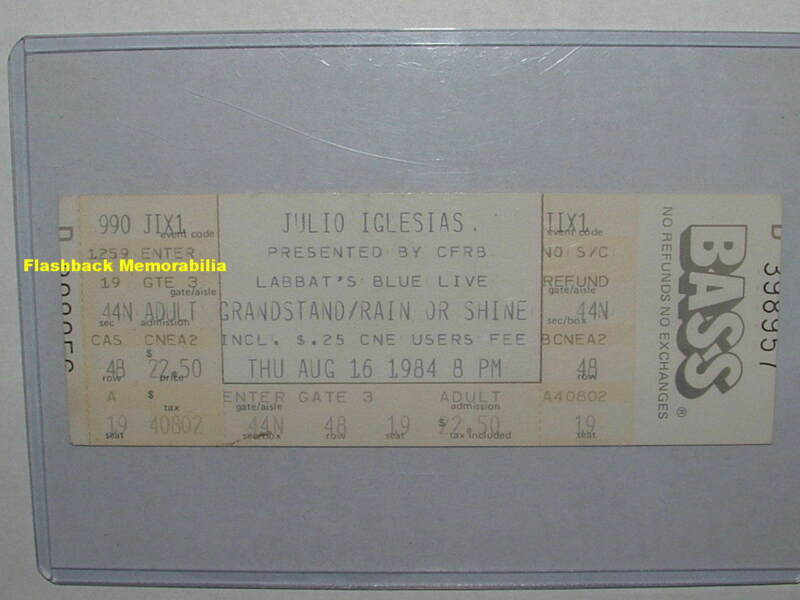 JULIO IGLESIAS Unused 1984 Concert Ticket TORONTO CNE GRANDSTAND Very Rare