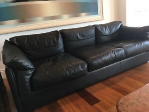 2 x black leather lounges (2 & 3 seater) Northbridge Willoughby Area Preview