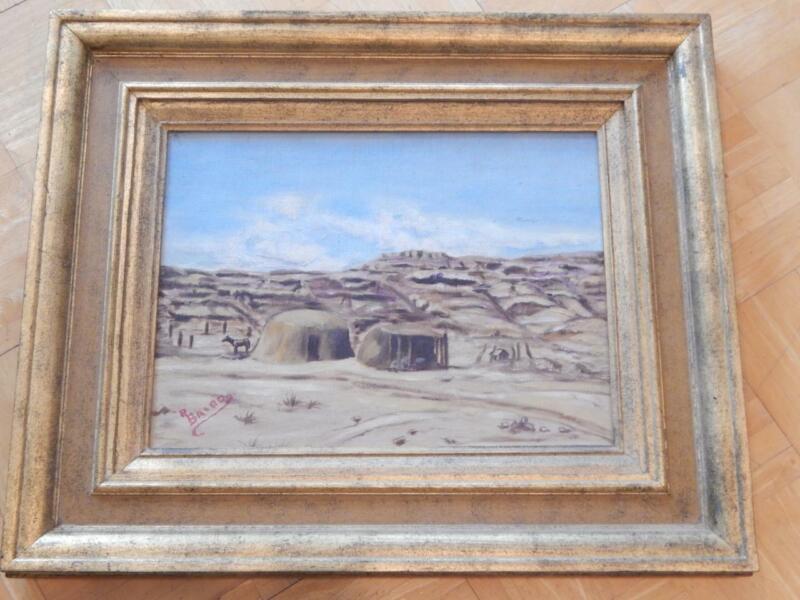 VINTAGE NAVAJO HOGAN SIGNED OIL PAINTING DESERT INDIAN ARIZONA NEW MEXICO