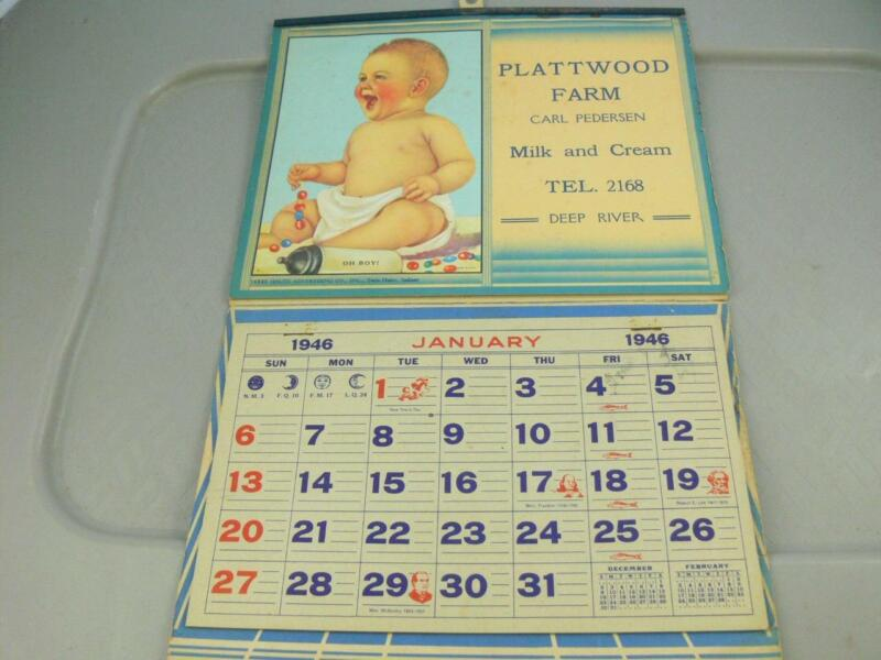 Rare 1946 Plattwood Farm Deep River Conn. Dairy Advertising Calendar