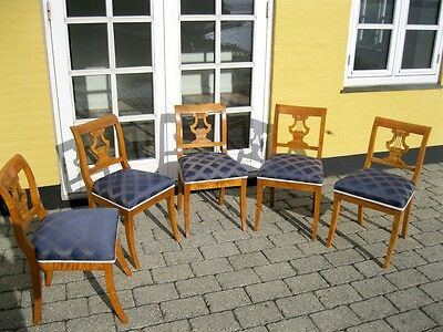 Fünf Biedermeier Stühle Lyra Birke Patina Original