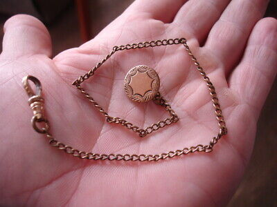 "Old antique pocket watch key wind fob 11"" chain gold flat button star charm W&SB"