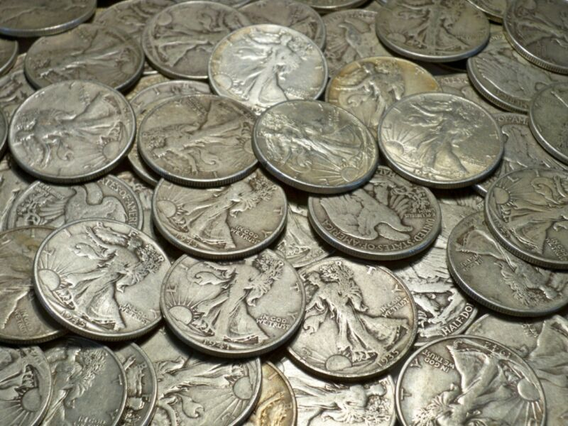 5- LIBERTY WALKING SILVER HALF DOLLAR ONLY LOT