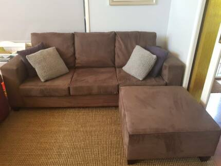 3 seater suede-look couch with ottoman