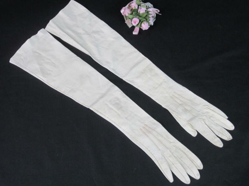 "*Vintage Kid Leather Opera Length Ladies Gloves 21"" Bakelite Snaps France 6 3/4"