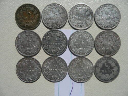 Lot of 12 Empire Germany Silver 1/2 Mark Coins - Lot 1