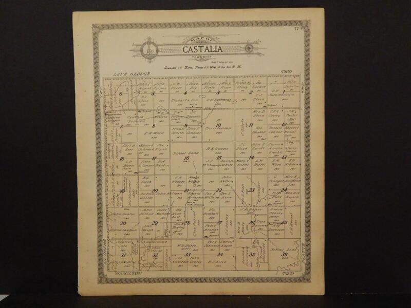South Dakota Charles Mix County Map Castalia Township  1912 K13#29