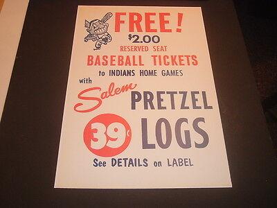Repro Cleveland Indians Salem Pretzel Logs Baseball Tickets Advertisement Print - Pretzel Log