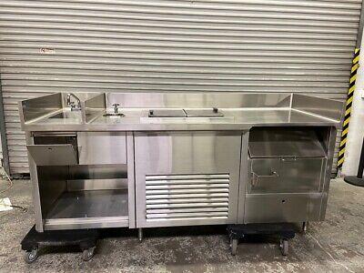 87 Drink Station Stainless Steel Work Prep Table Cabinet Freezer Ice Bin 4186