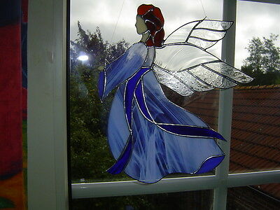 "TIFF. Fensterbild Engel, Schutzengel, hellblau, ""Handarbeit""."