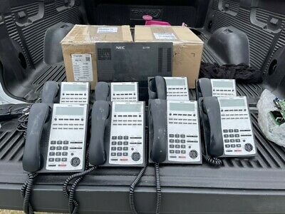 Nec Sl1100 Phone System 8 Phones Included - Tested Working - Ip4ww-12txh-b-tel