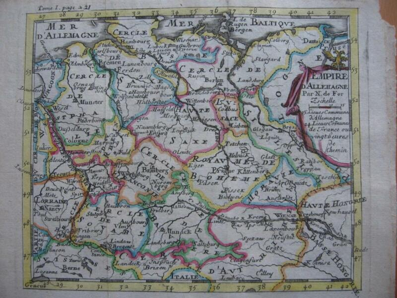 1689 - De FER - Small map  GERMANY  AUSTRIA  DANUBE  POLAND  CENTRAL EUROPE