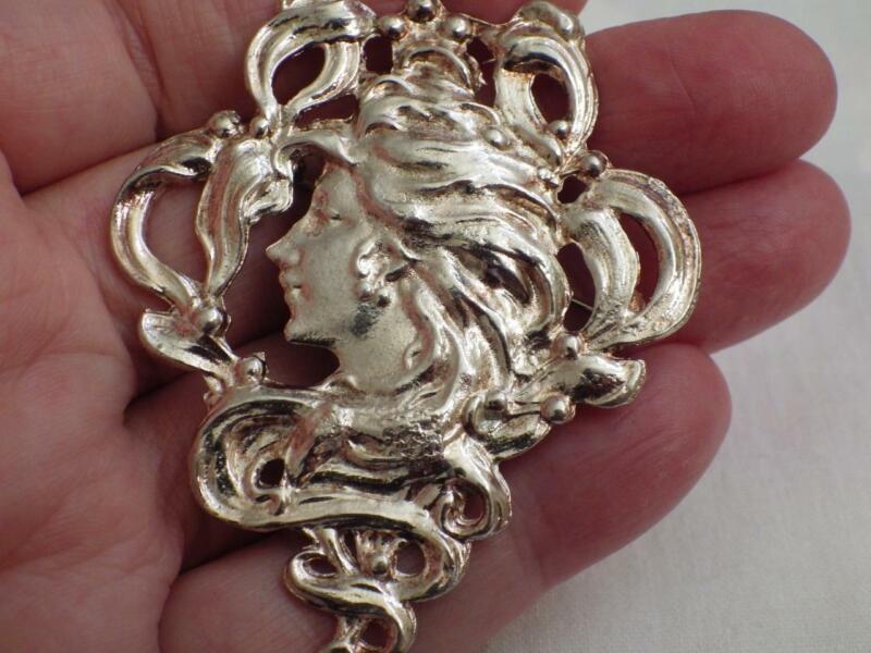 Vintage Jewellery Art Nouveau Lady Brooch Pin Silver