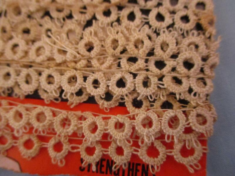 """Vintage Tatted Lace Handmade Edging 100"""" Handkerchief trim Doilies Doily"""