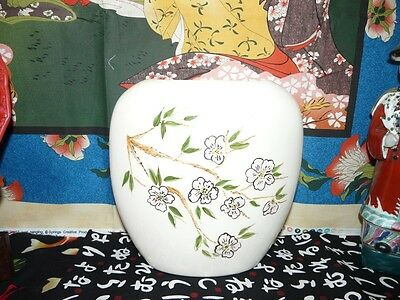 Beautiful Two Sided Large Porcelain Asian Motif Vase Peacock and Cherry Blossom
