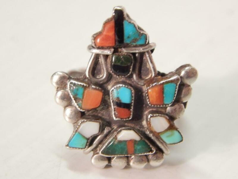 VINTAGE / ANTIQUE ZUNI INDIAN STERLING SILVER TURQUOISE CORAL KNIFEWING RING