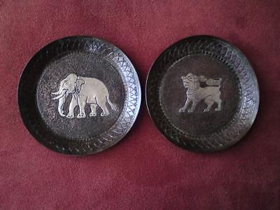 Antique 1920s Siam silver Niello work on copper nielloware dishs Qilin Elephant