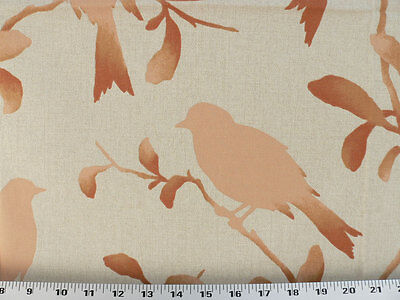 Drapery Upholstery Fabric Birds, Branches, Leaves Silhouette Print - Peach/Coral