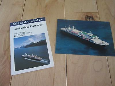 HOLLAND AMERICA LINE ALASKA SHORE EXCURSIONS BOOKLET NOORDAM SHIP POSTCARD