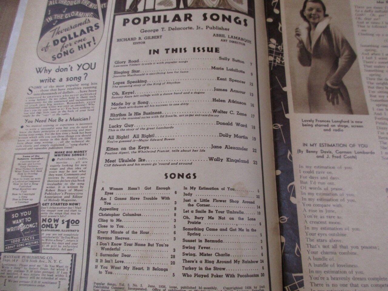 Popular Songs June 1936 Ethel Merman Lawrence Tibbbit Joey Nash Guy Lombardo  - $7.99