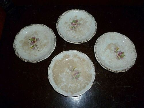 Set of (4) Antique Porcelain Butter Pats With Gold Trim