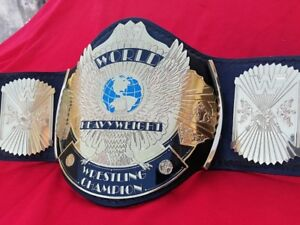WWF WINGED EAGLE  REPLICA BELT IN 4MM THICK METAL & REAL LEATHER STRAP