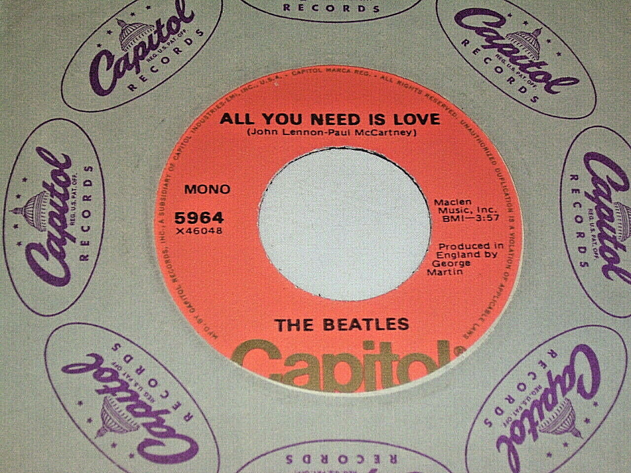 "7"" Beatles All you need is Love & Babyyou're a Rich Man - US Capitol Mono # 6163"