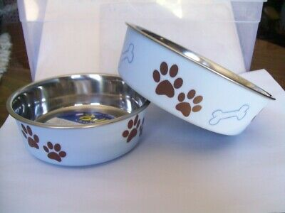SET OF 2 BELLA DOG BOWLS - 1 MEDIUM & 1 SMALL - COLOR MURANO BLUE BRAND NEW