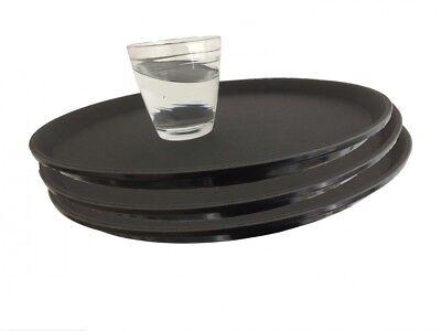 3 x Gastro Tablett Ø 35 rund schwarz antirutsch Kellnertablett Serviertablett