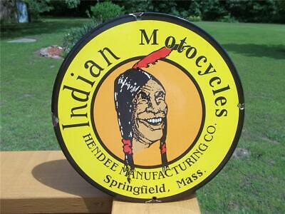 VINTAGE PORCELAIN INDIAN MOTORCYCLE SIGN HENDEE MANUFACTURING CO SPRINGFIELD MA