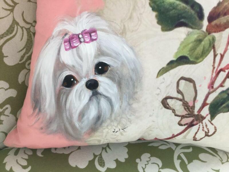 MALTESE HAND PAINTED ROSE PILLOW GORGEOUS!