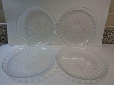 "9"" Clear Frosted Glass Plates scalloped edge Design embossed on bottom lot of 4"