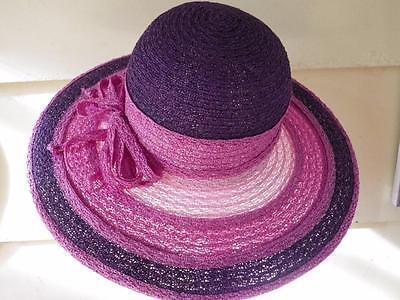 Angel Designs Straw Hat Pink Purple Wide Brim Floppy Pink Angel Hat
