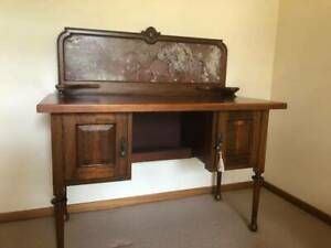 ANTIQUE HALL TABLE WITH MARBLE BACK