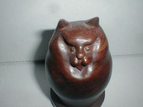 Richard Recchia Copy WOOD CARVED CAT Feline Figure Carving BOSTON Vtg Modern Art