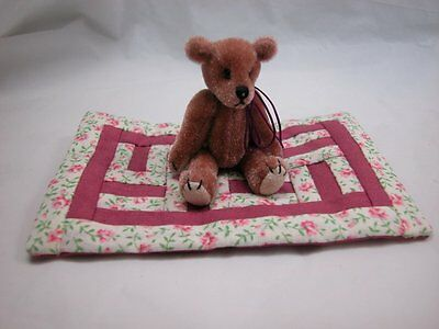 """World of Miniature Bears 2.5"""" Plush Bear with Quilt #Q5 Collectible Bear"""