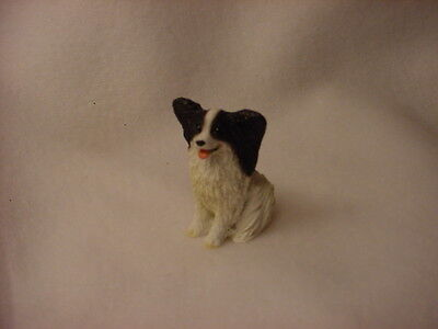 PAPILLON black white puppy TiNY Dog FIGURINE Resin MINIATURE Mini Pet Statue NEW