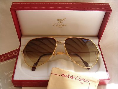 85740ed8366 NEW VINTAGE CARTIER SANTOS SCREWS !BIG! 62MM SUNGLASSES FRANCE 18K HEAVY  PLATED
