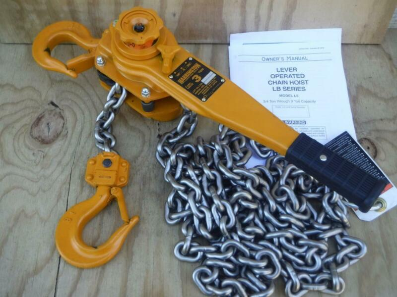 "New Harrington LB030-15 6000lb 15ft lift 1-33/64"" Hook Opening lever Chain Hoist"
