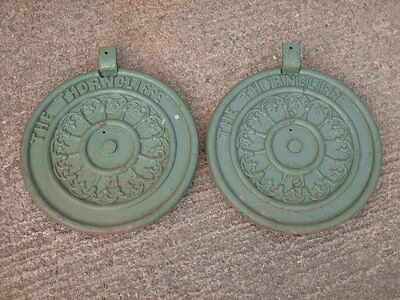 PAIR OF ANTIQUE / VINTAGE CAST  IRON THE THORNCLIFFE  PLAQUES / SIGNS