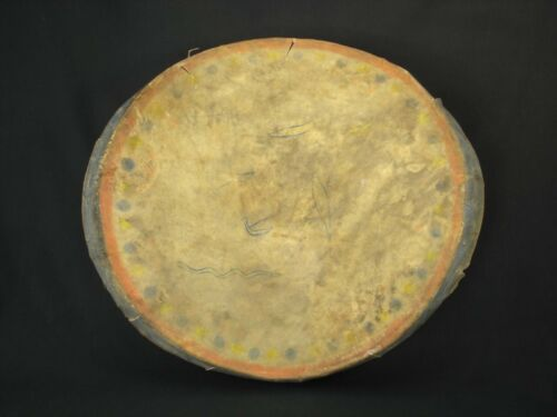 A Plains Painted Hide Hand Drum, Native American Indian Artifact, c.1890
