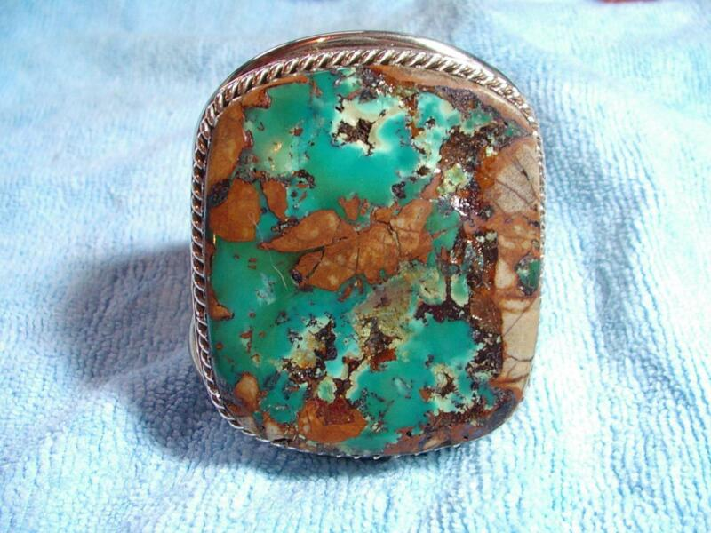 RARE ROYSTON TURQUOISE & SILVER XL WRIST CUFF, MADE BY GREG THORNE