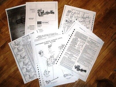 Atlas Craftsman 101.21400 6 Inch Lathe 18 Page Manual Instructions Threading