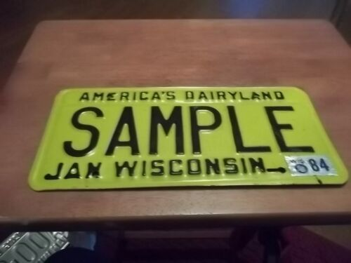 Wisconsin Sample license Plate automobile 1980 with 84 sticker