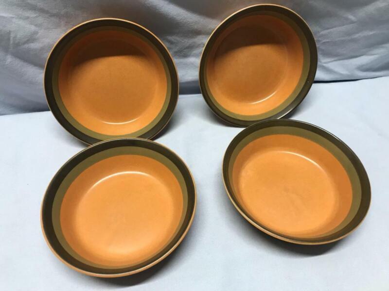 "ARROW STONE  (4) 5 3/8"" Fruit Bowls - CHEROKEE - Green & Brown Stripes - JAPAN"