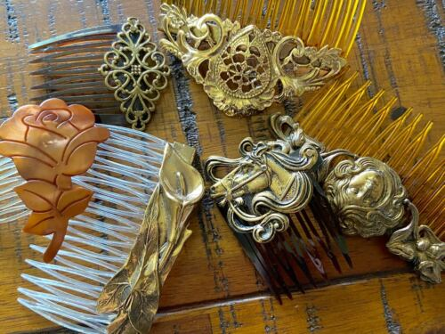 Lot of 6 Lovely Hair Combs Plastic Brass Vintage to Now Art Nouveau Victorian