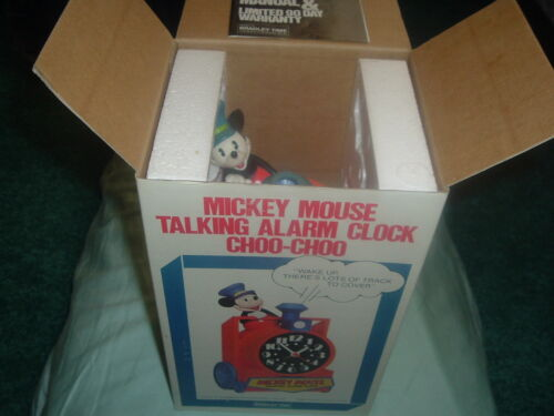 Collectible Disney Mickey Mouse Train Conductor Talking Alarm Clock in Box ��