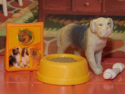 Barbie Bag of Dog food with food bowl and chew toy puppy lot dollhouse miniature