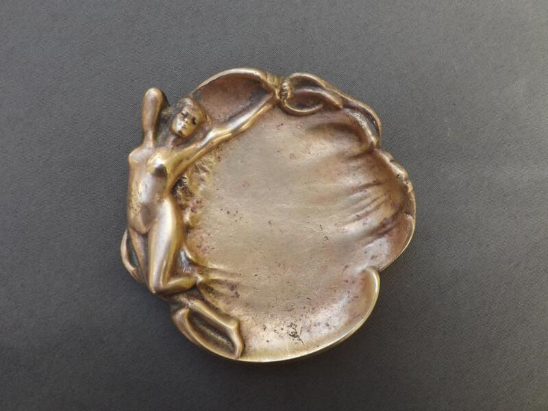 Bronze Art Nouveau Tray Dish Nude