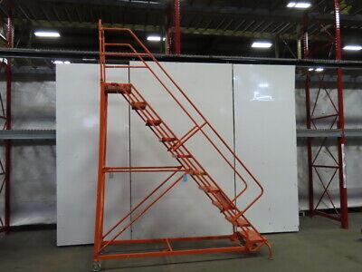 Louisville Ladder 10-step 136 High Steel Ware House Rolling Ladder 450lb Cap.